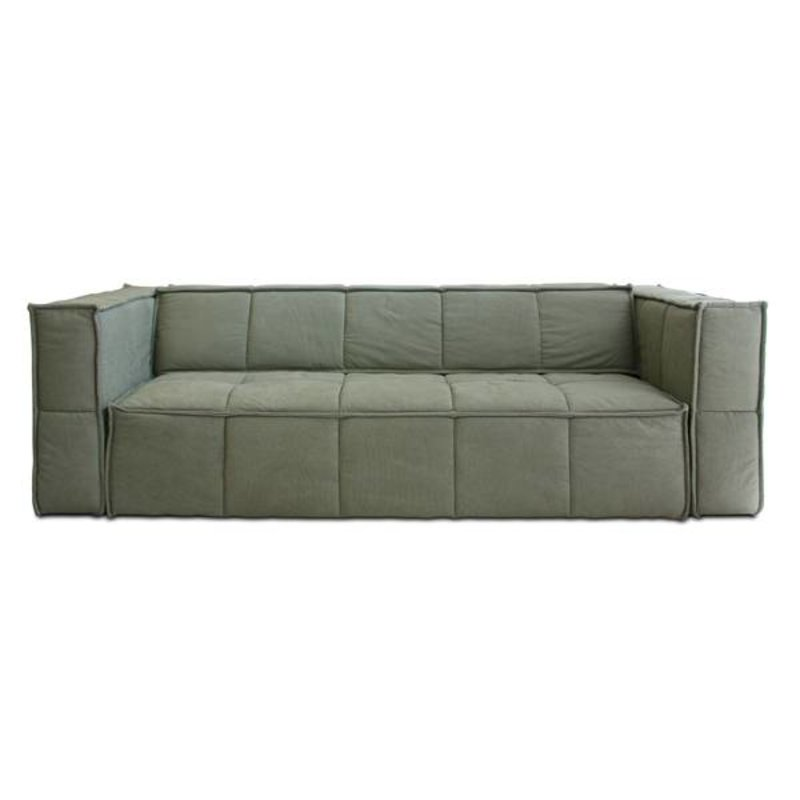 HK living-collectie HK living cube couch: 4-seats, canvas, army green