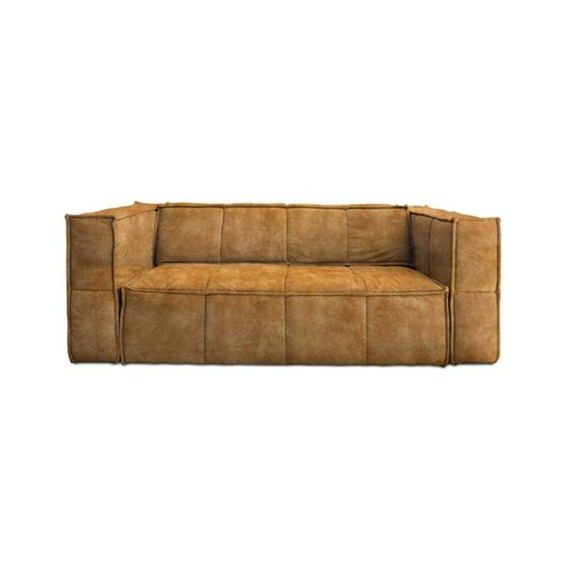 HKliving-collectie cube couch: 3-seats, vintage velvet, mustard yellow
