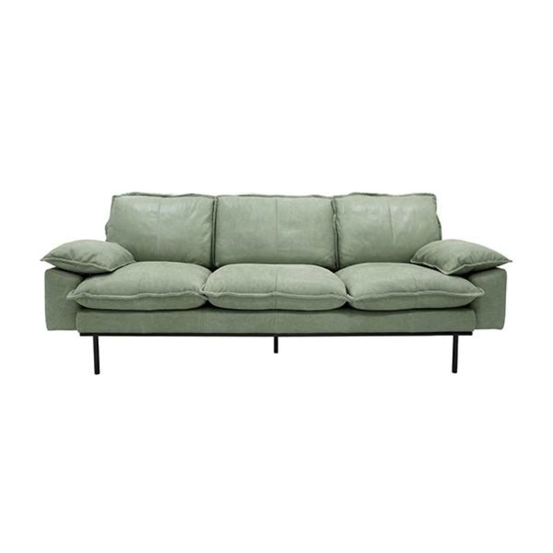 HKliving-collectie Retro sofa 3-zits bank  leer mintgroen