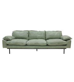 HK living-collectie Retro sofa 4-zits bank  leer mintgroen
