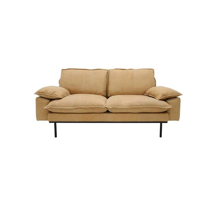 HK living-collectie Retro sofa 2-zits bank  leer naturel