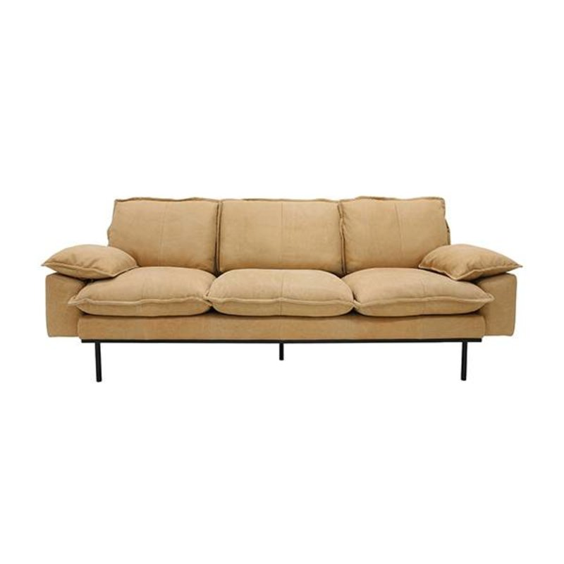 HKliving-collectie retro sofa: 3-seats, leather, natural