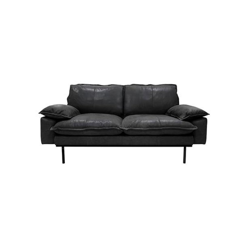HK living-collectie retro sofa: 2-seats, leather, black