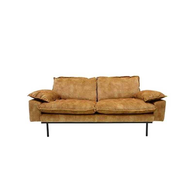HK living-collectie Retro sofa 2-zits bank fluweel mosterd geel