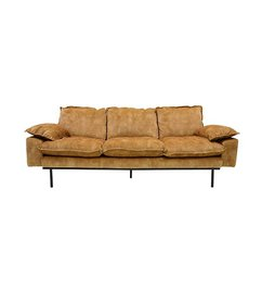 HK living-collectie Retro sofa 3-zits bank fluweel mosterd geel