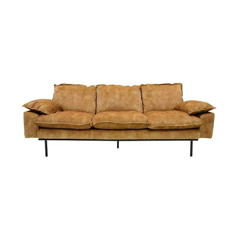 HKliving-collectie retro sofa: 3-seats, vintage velvet, mustard yellow