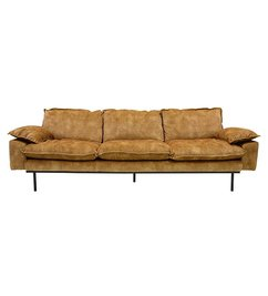 HK living-collectie Retro sofa 4-zits bank fluweel mosterd geel