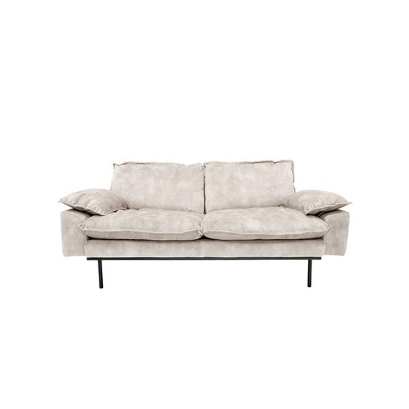 HKliving-collectie Retro sofa 2-zits bank fluweel creme wit
