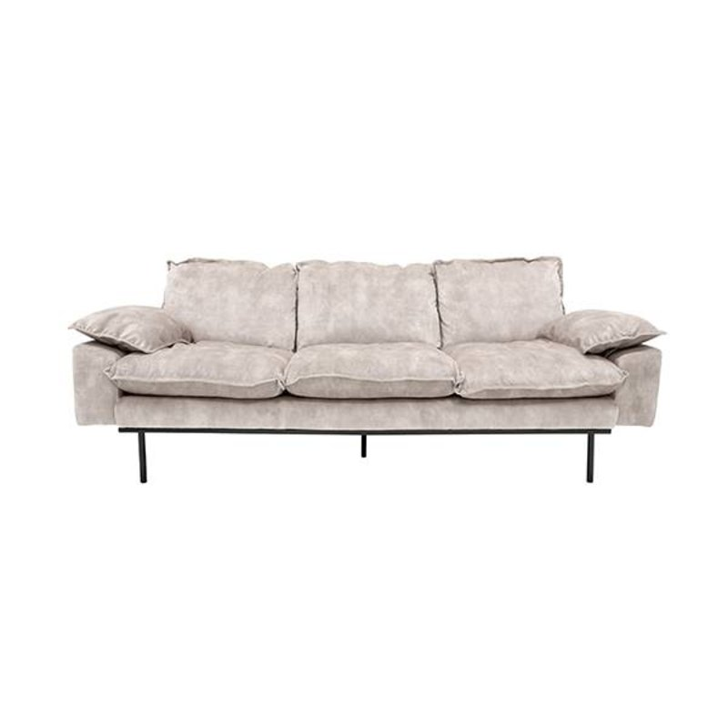 HKliving-collectie Retro sofa 3-zits bank fluweel creme wit