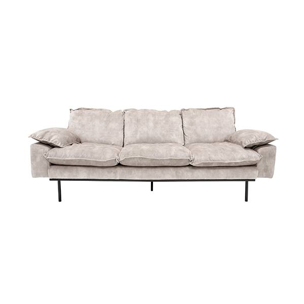 3 Zits Bank Fluweel.Hk Living Retro Sofa 3 Zits Bank Fluweel Creme Wit Deens