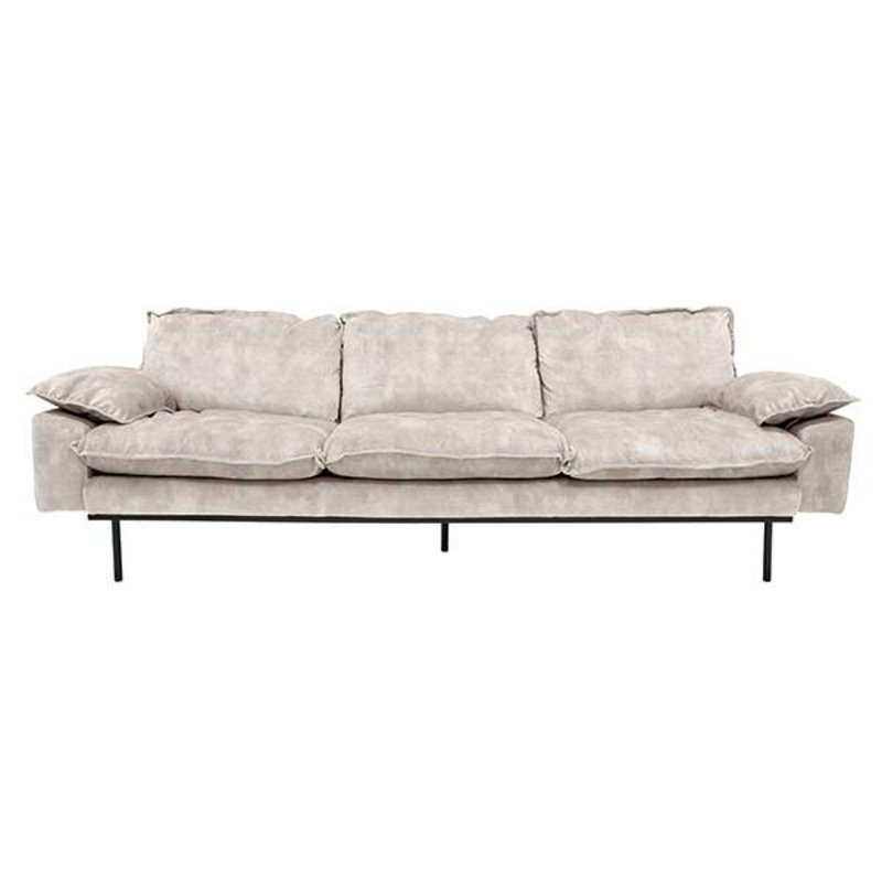 HKliving-collectie Retro sofa 4-zits bank fluweel creme wit