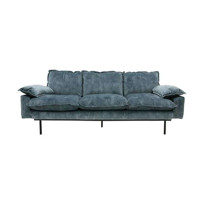 HKliving-collectie retro sofa: 3-seats, vintage velvet, petrol blue