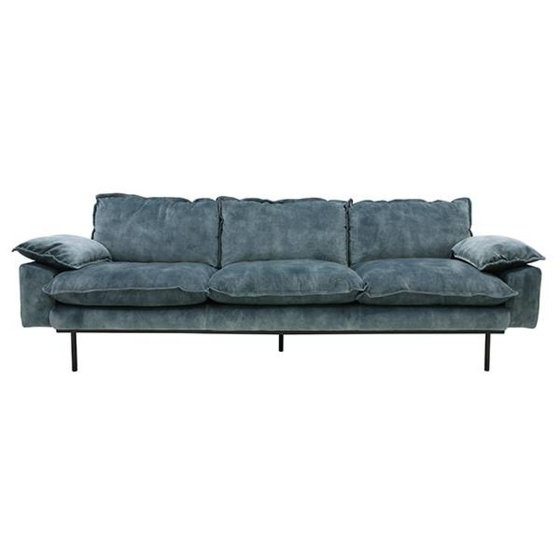 HKliving-collectie retro sofa: 4-seats, vintage velvet, petrol blue