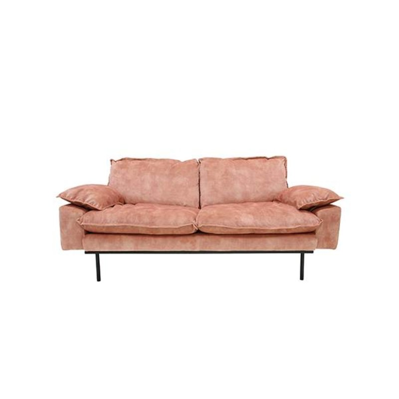 HK living-collectie Retro sofa 3-zits bank fluweel  oudroze