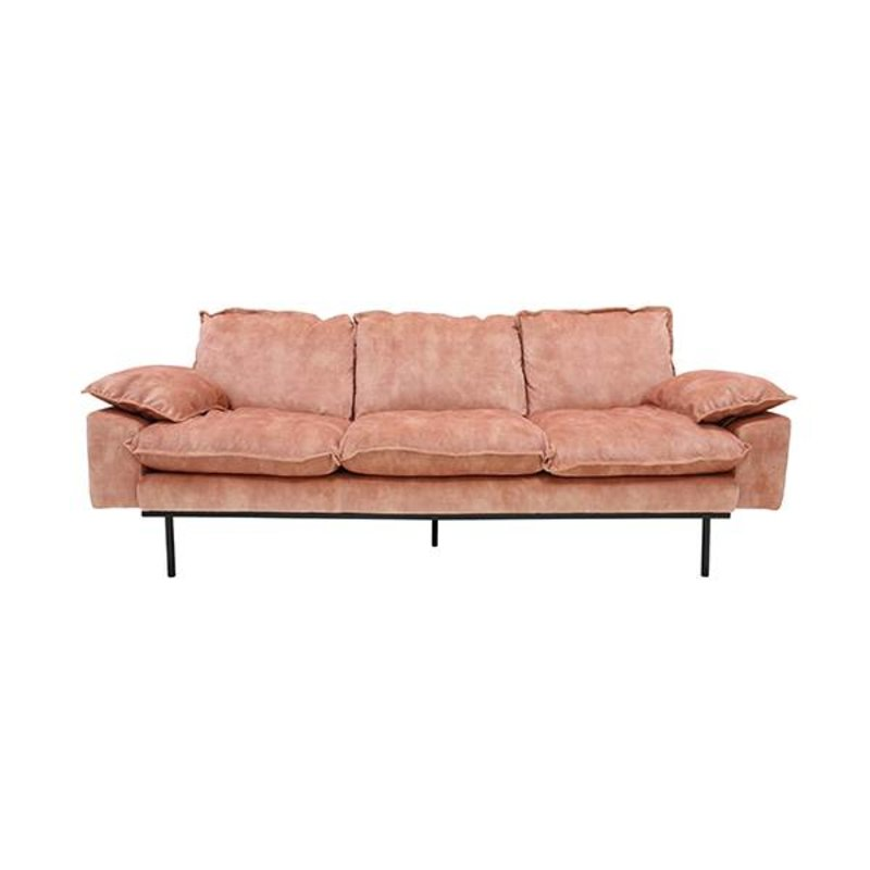 HKliving-collectie Retro sofa 3-zits bank fluweel  oudroze