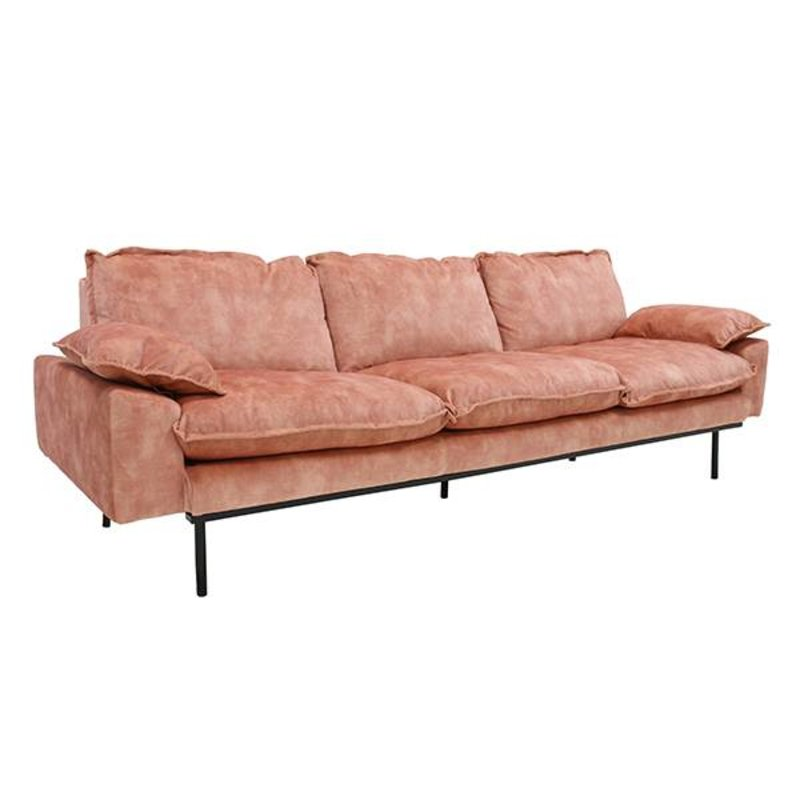 HK living-collectie retro sofa: 4-seats, vintage velvet, old pink