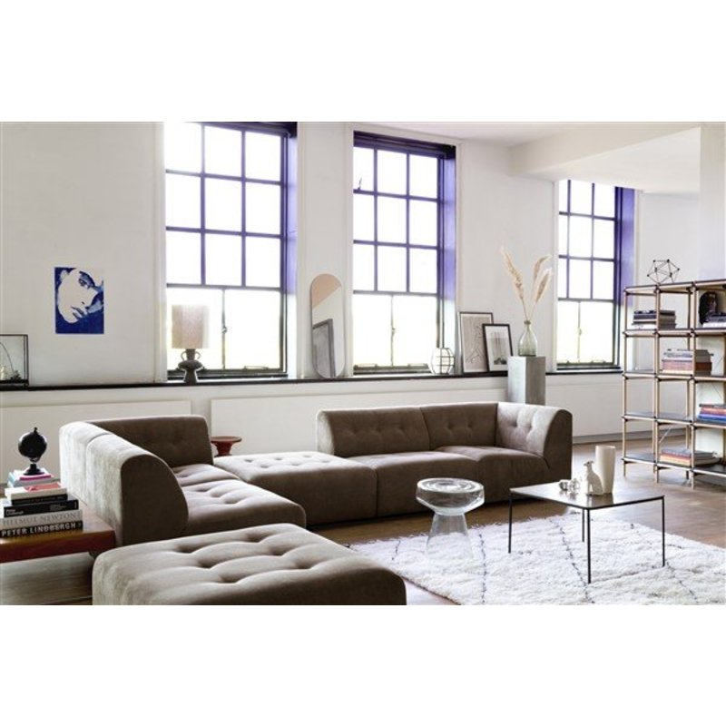 HKliving-collectie Vint bank element A - hoekonderdeel links - corduroy bruin