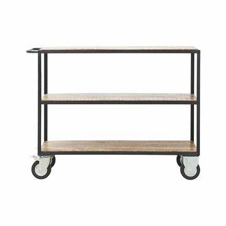 House Doctor Zwart metalen trolley met houten planken -laag model-
