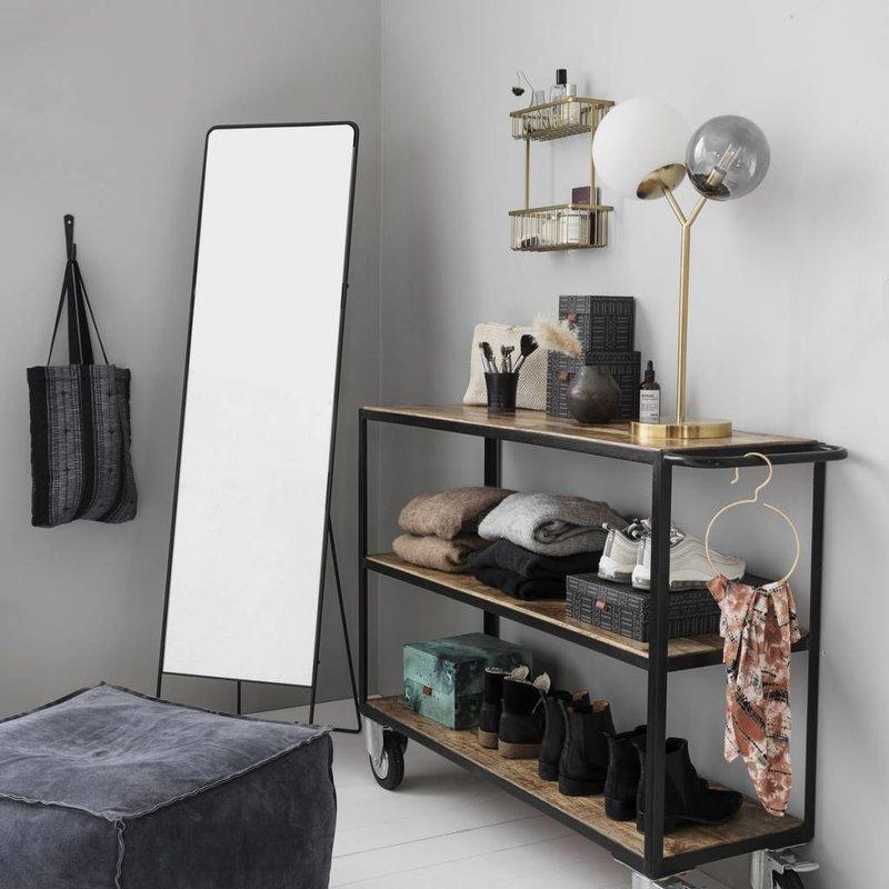 House Doctor-collectie Zwart metalen trolley met houten planken -laag model-