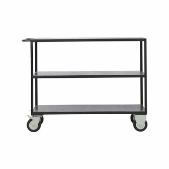 House Doctor Zwart metalen trolley -laag model-