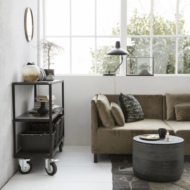House Doctor-collectie Zwart metalen trolley -laag model-