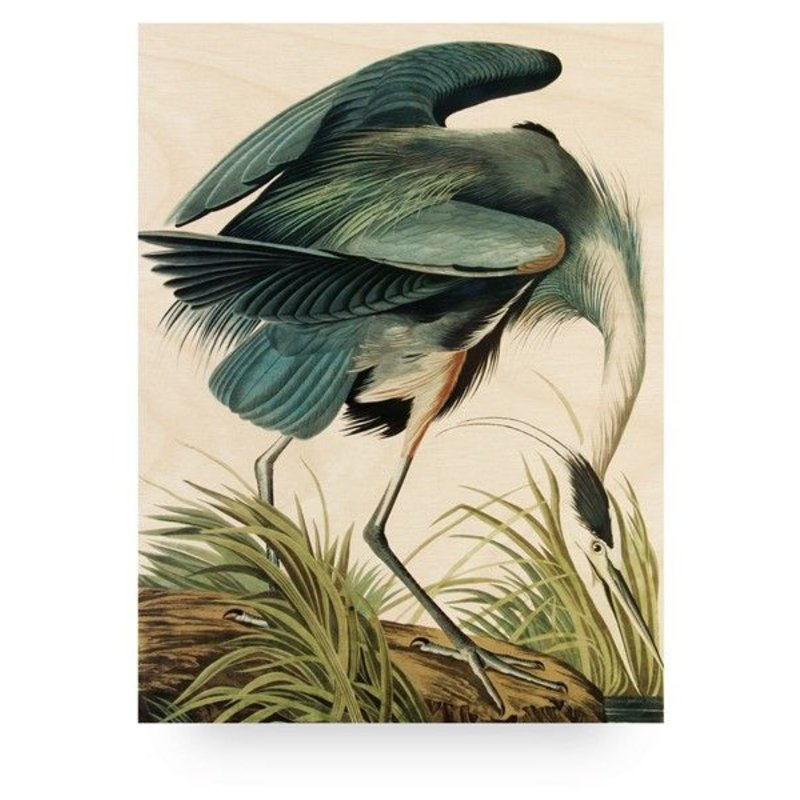 KEK Amsterdam-collectie Wood print Heron in gras L