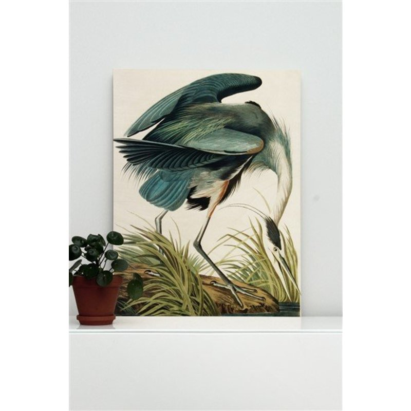 KEK Amsterdam-collectie Wood print Heron in gras M