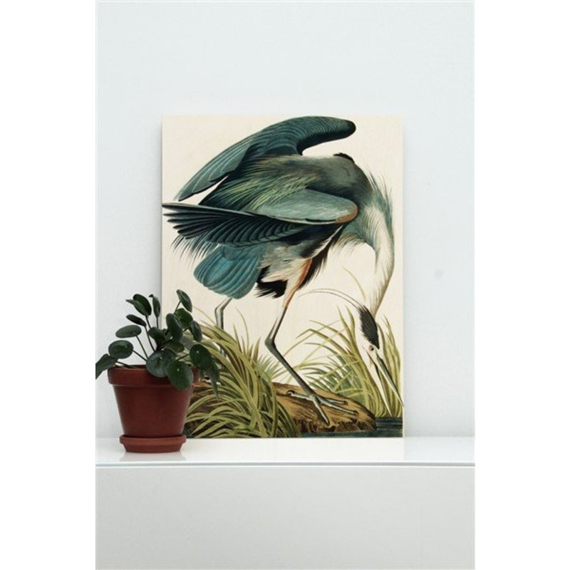 KEK Amsterdam-collectie Wood print Heron in gras S