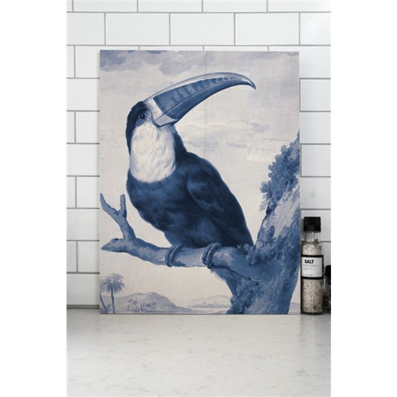 KEK Amsterdam-collectie Print op hout Royal Blue Toucan S