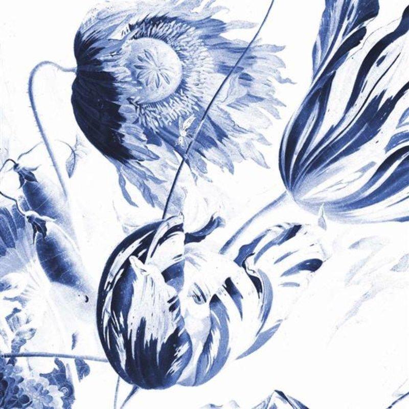 KEK Amsterdam-collectie Wallpaper Circle Royal Blue Flowers