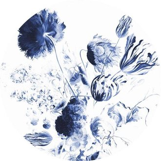KEK Amsterdam Wallpaper Circle Royal Blue Flowers