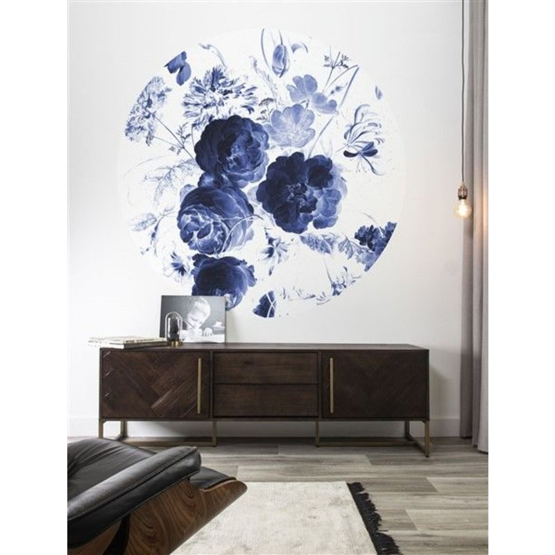 KEK Amsterdam-collectie Wallpaper Circle Royal Blue Flowers