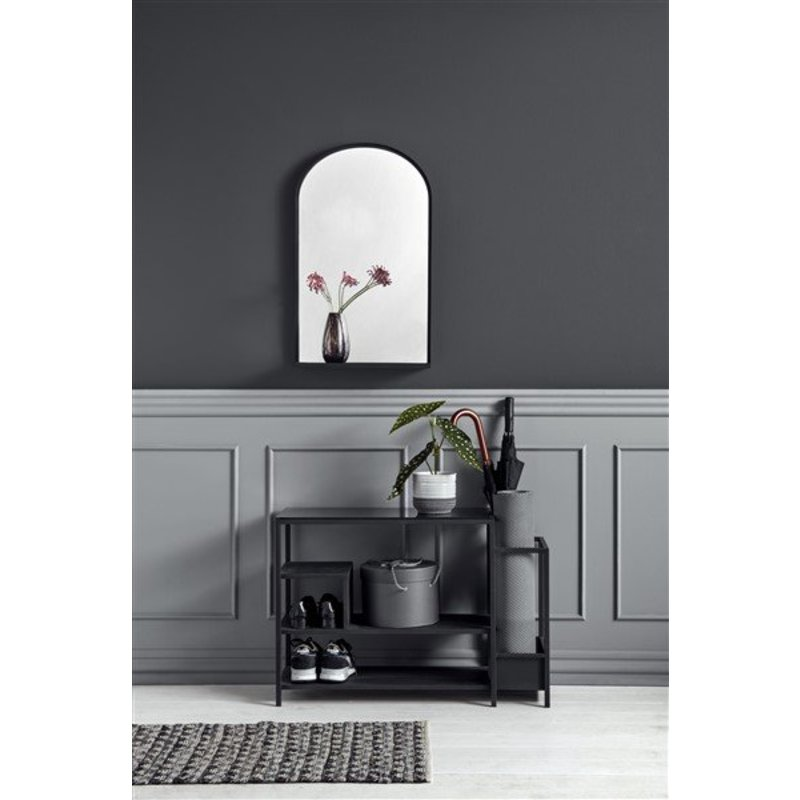Nordal-collectie Iron shoe rack with black shelf