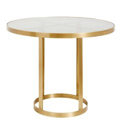 Nordal Round display table, golden/black glass
