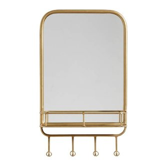 Nordal Mirror w. rack, metal, Gold