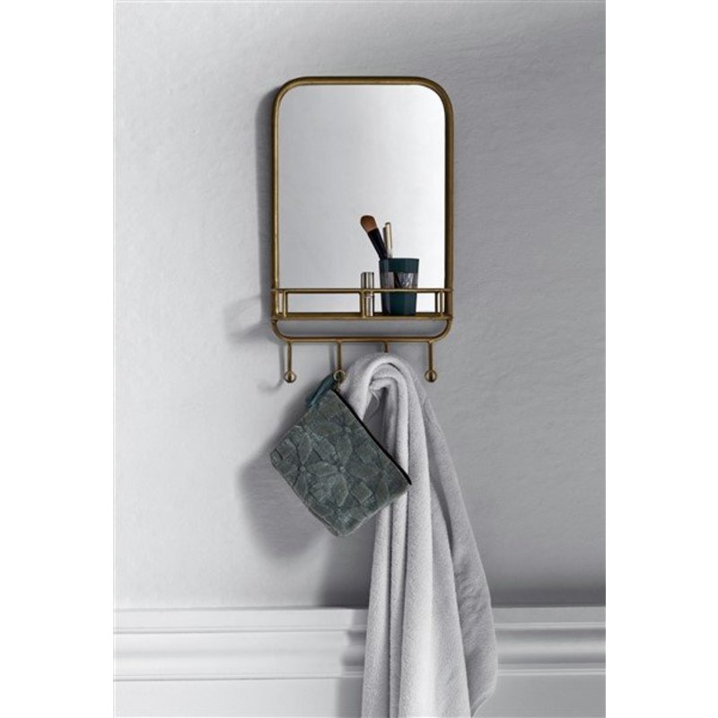 Nordal-collectie Mirror w. rack, metal, Gold