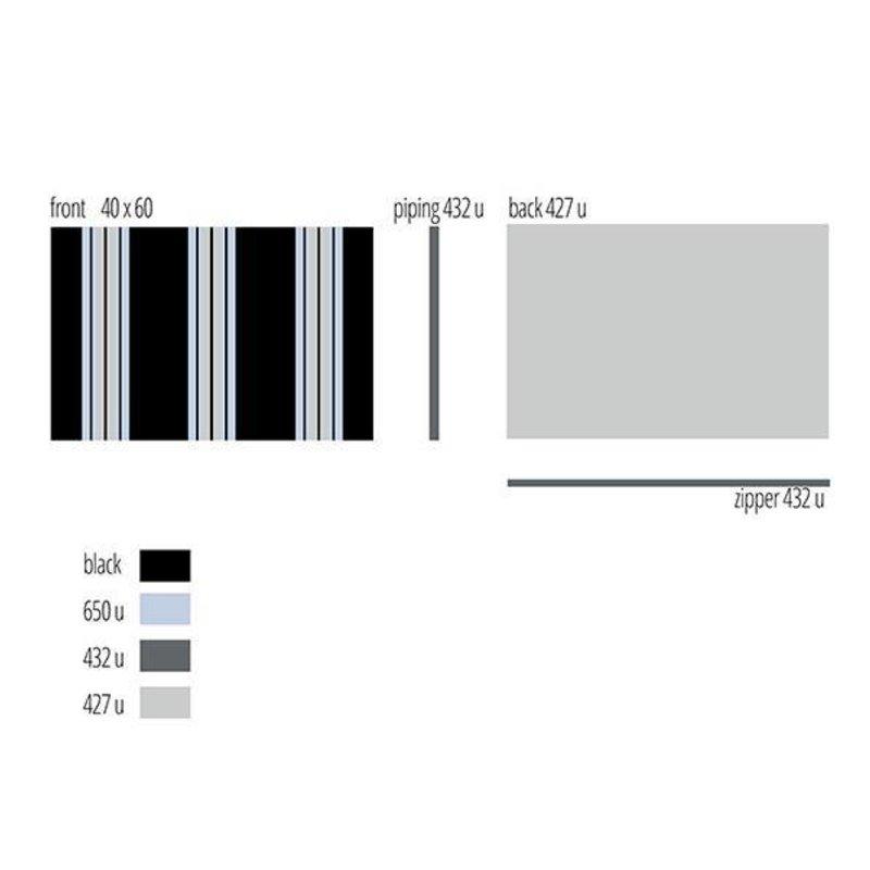 E|L by DEENS.NL-collectie Kussen KOEN streep zwart