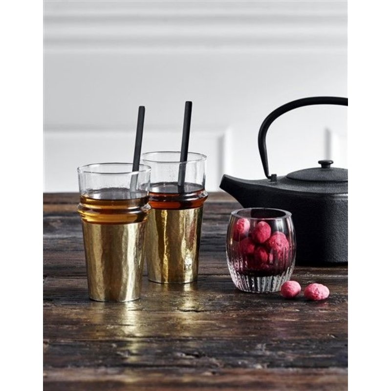 Nordal-collectie Drinking glass w/golden metal sheet