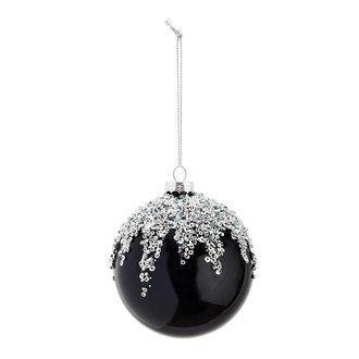 Madam Stoltz Hanging glass ball - black with silver glitters