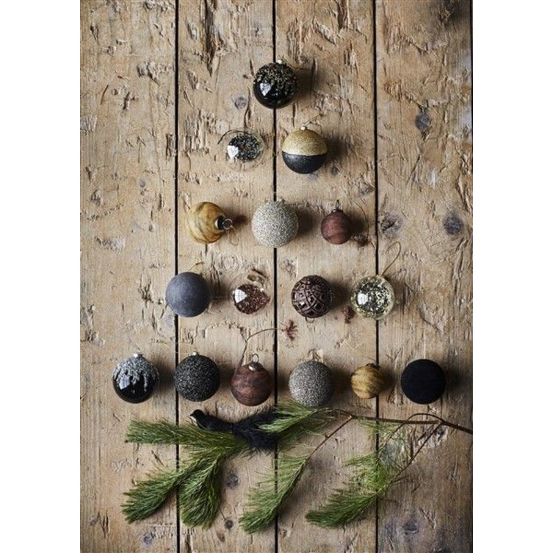 Madam Stoltz-collectie Hanging glass ball - black with silver glitters