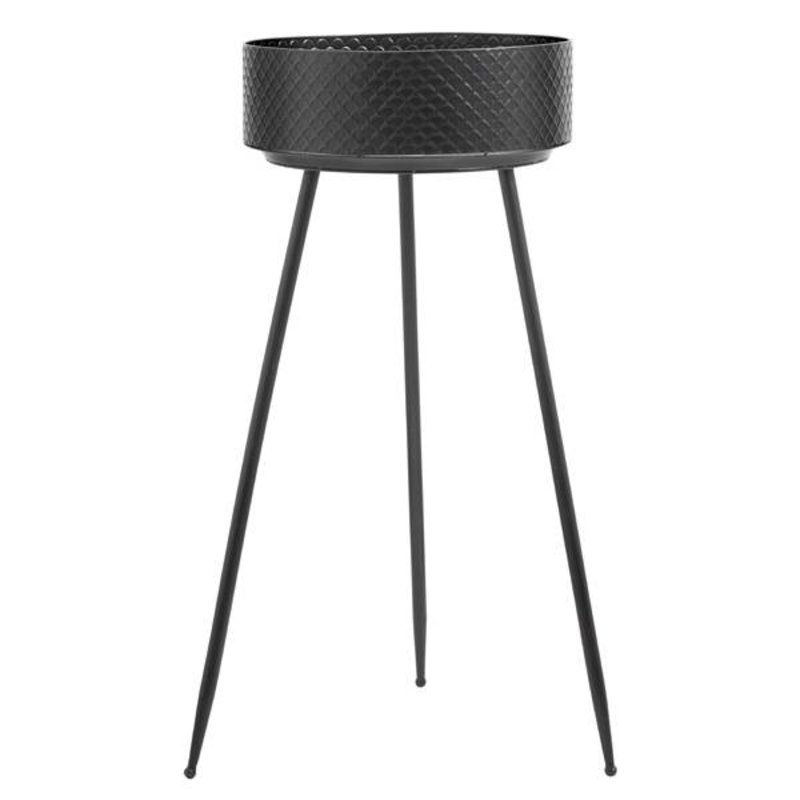 Nordal-collectie INDIAN black metal planters w. legs, L