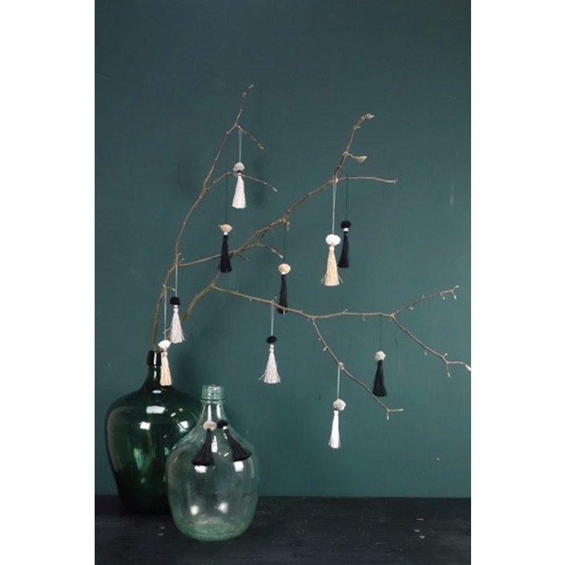 E|L by DEENS.NL-collectie Tassels TEUNTJE zwart-wit-grijs