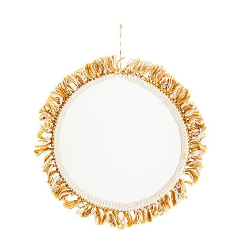 Madam Stoltz-collectie Hanging mirror w/ cotton fringes