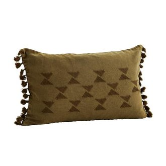 Madam Stoltz Cushion cover w/ embroidery and tassels