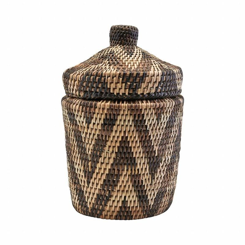 House Doctor-collectie Rattan mand met deksel Boylo Light 20 cm