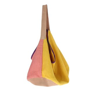 HKliving linen/suede bag yellow