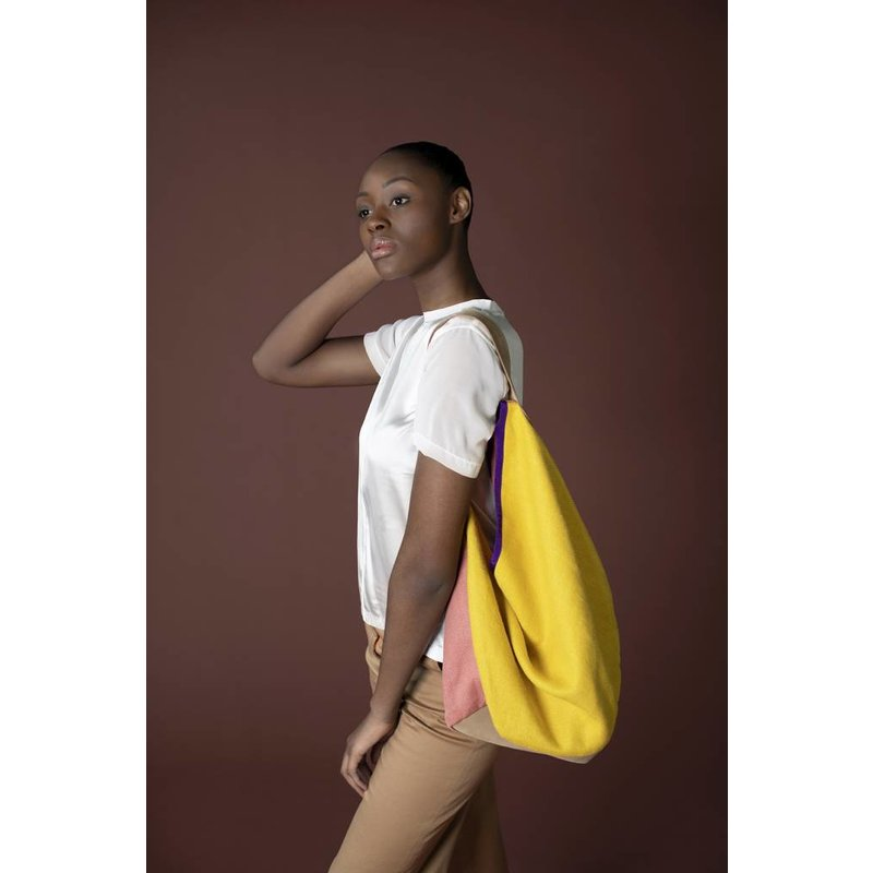 HKliving-collectie linen/suede bag yellow