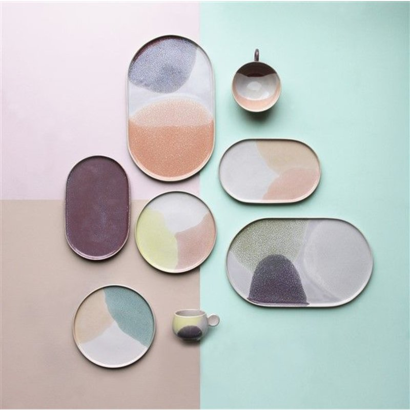 HKliving-collectie gallery ceramics: round side plate pink/yellow