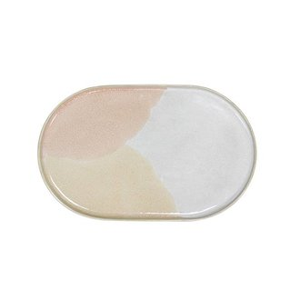HKliving gallery ceramics: oval side plate pink/nude