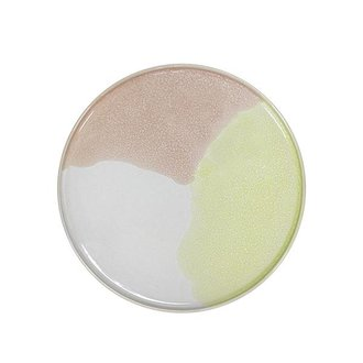 HKliving gallery ceramics: round side plate pink/yellow